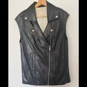 H&M 100% Leather Black Biker Vest Size 6